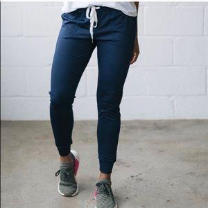 ZYIA Cozy Jogger Sweat Pants Navy Blue M